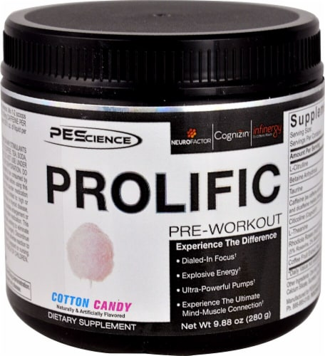 PEScience Prolific Cotton Candy Pre-Workout Perspective: front