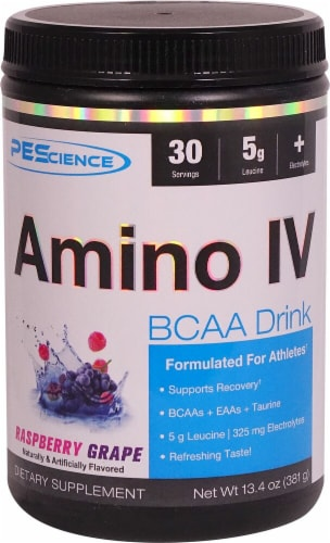 PEScience Amino IV Raspberry Grape Perspective: front
