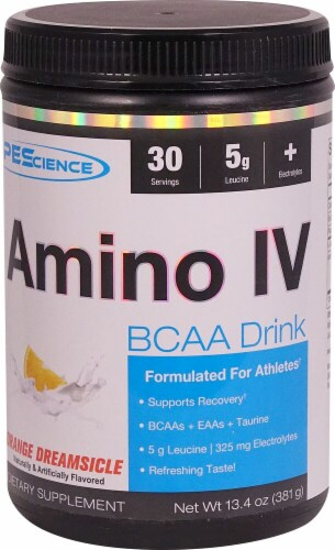 PEScience Amino IV Orange Dreamsicle BCAA Drink Perspective: front