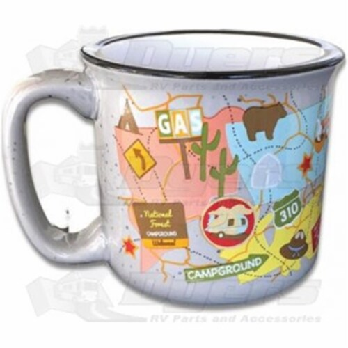 Camp Casual 15 oz Travel Map Mug Perspective: front