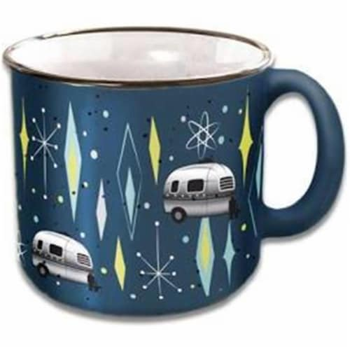 Camp Casual 15 oz Vintage Blues Travel Mug Perspective: front