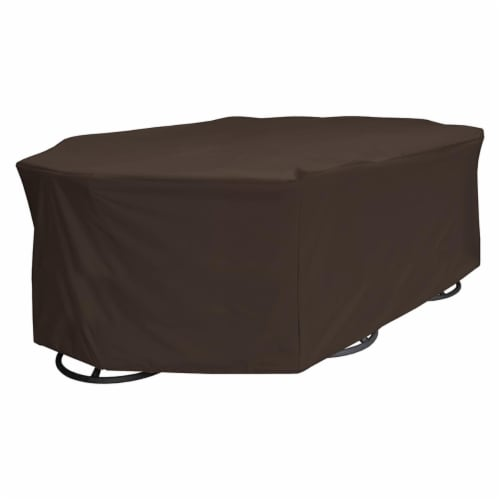 True Guard 100538807 6-Chair 600 Denier Rip Stop Patio Dining Set Cover Perspective: front