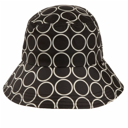 Totes Women's Split Back Rain Hat - Black/White Perspective: front