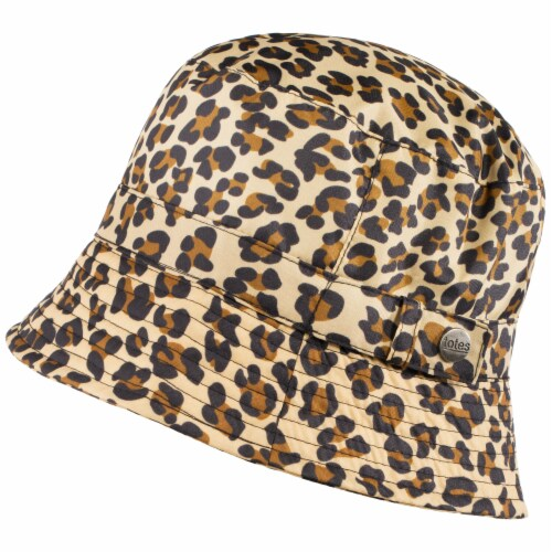 Totes Women's Cheetah Print Bucket Rain Hat - Brown Perspective: front