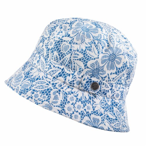 Totes Women's Bucket Rain Hat - Blue/White Perspective: front