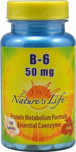 Nature's Life Vitamin B-6 Tablets 50 mg Perspective: front