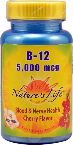 Nature's Life Cherry B-12 Lozenges 5000 mcg Perspective: front