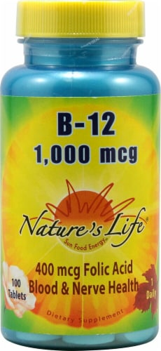 Nature's Life Vitamin B-12 Tablets 1000 mcg Perspective: front