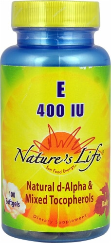 Nature's Life  Vitamin E Natural d-Alpha & Mixed Tocopherols 100 Softgels 400 IU Perspective: front