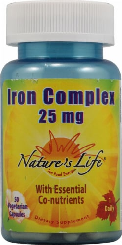 Nature's Life Iron Complex Vegetarian Capsules 25mg Perspective: front