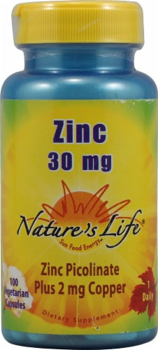 Nature's Life Zinc Picolinate Caps 30mg Perspective: front