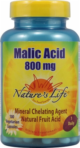 Nature's Life Malic Acid Vegetarian Capsules 800mg Perspective: front