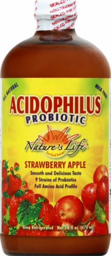 Nature's Life Acidophilus Probiotic Strawberry Apple Probiotic Drink Perspective: front