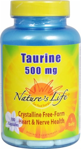 Nature's Life Taurine Capsules 500 mg Perspective: front