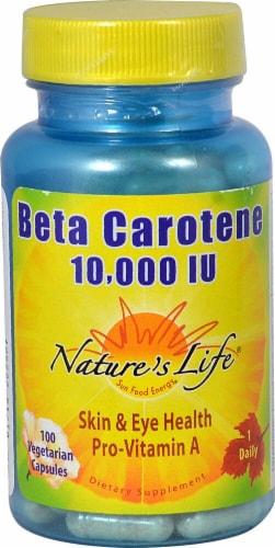 Nature's Life Beta Carotene Vegetarian Capsules 10000iu Perspective: front