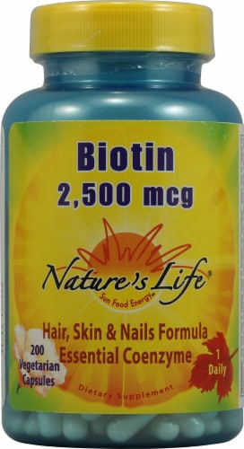 Nature's Life Biotin Capsules 2500mcg Perspective: front