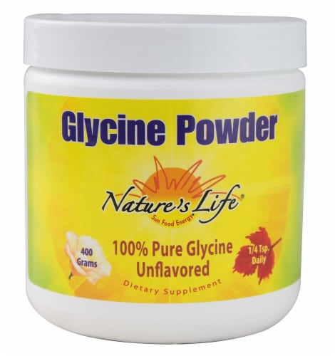 Nature's Life Unflavored Glycine Powder Perspective: front