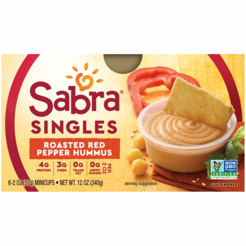 Sabra Singles Roasted Red Pepper Hummus Multi-Pack Perspective: front
