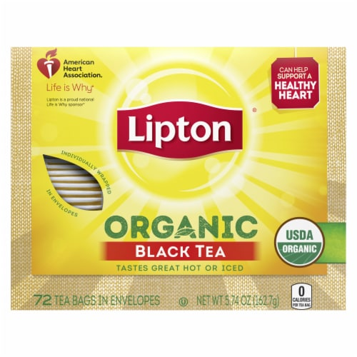 Lipton Organic Black Tea Bags 72 Count Perspective: front
