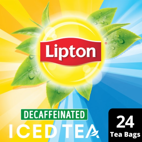 Lipton Unsweetened Decaffeinated Black Iced Tea Bags Family Size Perspective: front