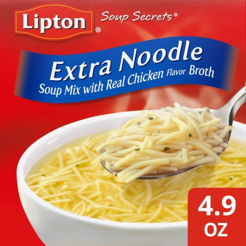 Lipton Soup Secrets Instant Extra Noodle Soup Mix with Real Chicken Broth Perspective: front