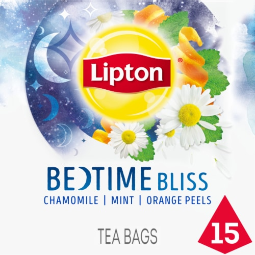 Lipton Chamomile Mint Orange Bedtime Bliss Tea Bags 15 Count Perspective: front