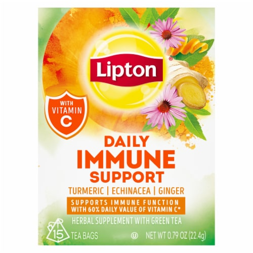 Lipton Daily Support Turmeric Echinacea Ginger Green Tea Bags Perspective: front