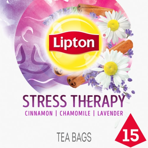 Lipton Stress Therapy Cinnamon Chamomile & Lavender Caffeine Free Herbal Supplement Tea Bags Perspective: front