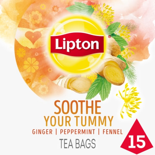 Lipton Soothe Your Tummy Caffeine Free Herbal Supplement Tea Bags Perspective: front