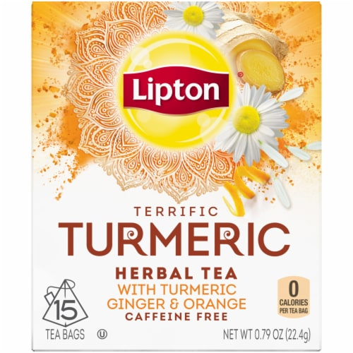 Lipton Terrific Turmeric Caffeine Free Herbal Tea Bags Perspective: front
