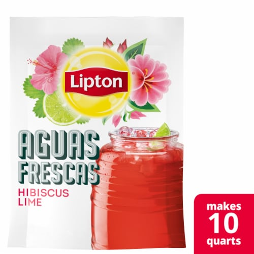 Lipton Aguas Frescas Hibiscus Lime Iced Herbal Tea Mix Perspective: front