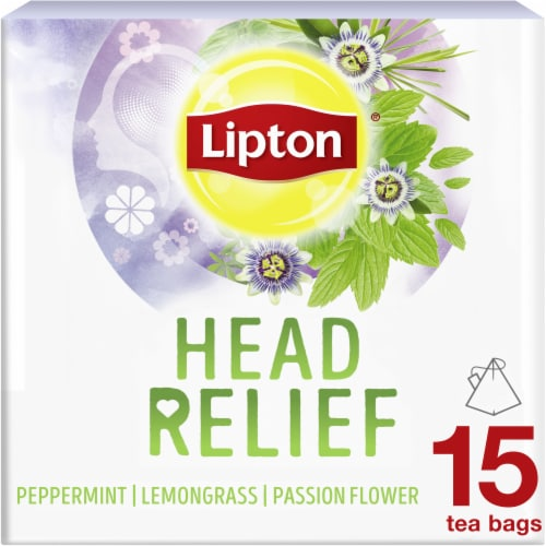 Lipton Head Relief Peppermint Lemongrass Passion Flower Caffeine Free Herbal Tea Bags 15 Count Perspective: front