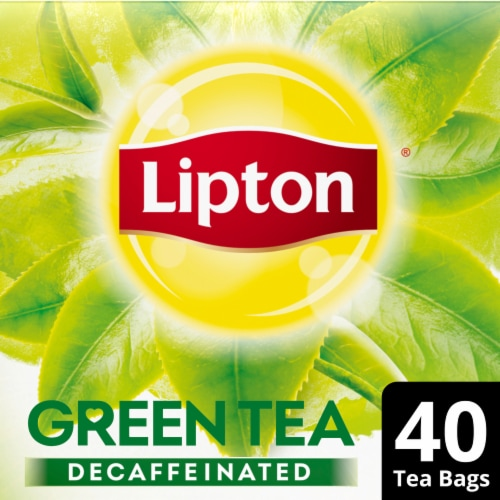 Lipton Decaffeinated Green Tea Bags 40 Count Perspective: front