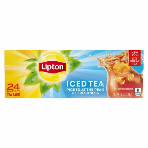Lipton Iced Black Tea Bags Family Size Perspective: front