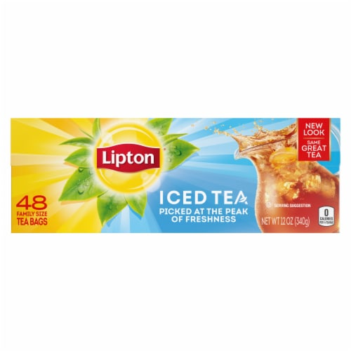 Lipton Unsweetened Black Iced Tea Bags Perspective: front