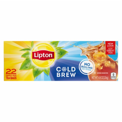 Lipton Cold Brew Black Iced Tea Bags Family Size Perspective: front