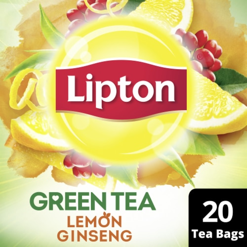 Lipton Lemon Ginseng Green Tea Bags Perspective: front