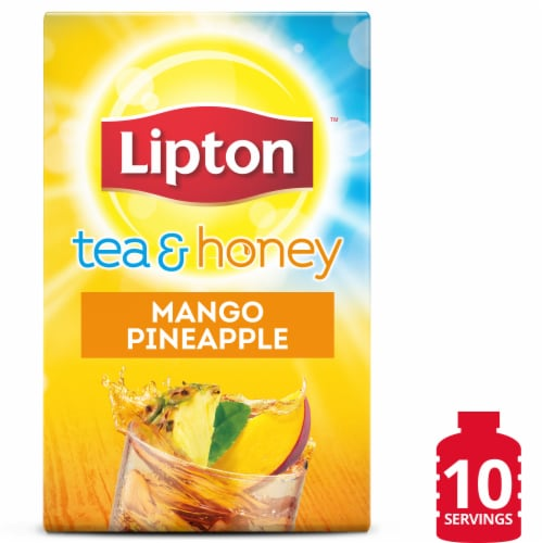 Lipton Mango Pineapple Iced Green Tea Mix Packets 10 Count Perspective: front