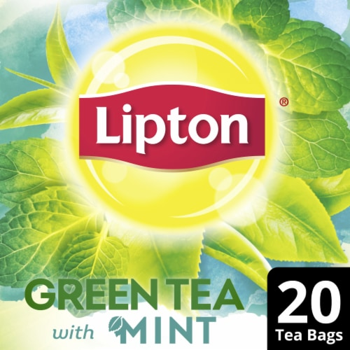 Lipton Natural Green Tea with Mint Tea Bags Perspective: front