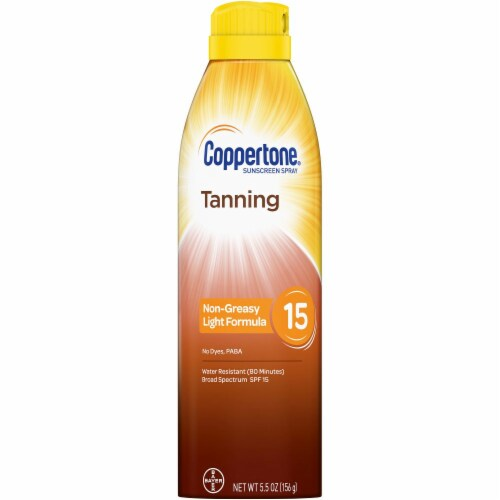 Coppertone Tanning Sunscreen Spray SPF 15 Perspective: front