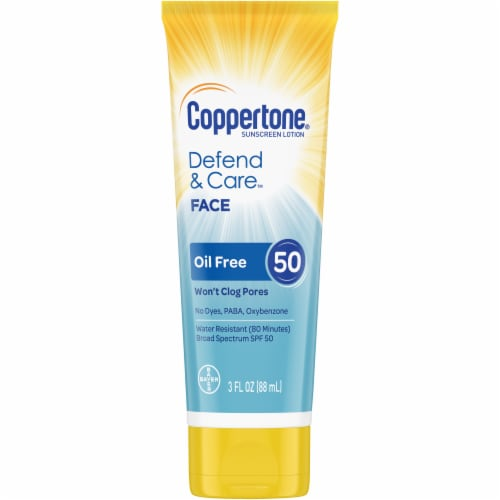Coppertone Defend & Care Oil Free Face Sunscreen Lotion SPF 50 Perspective: front