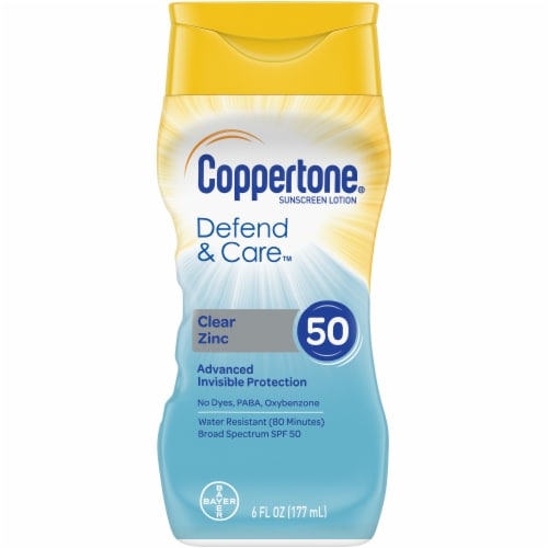 Coppertone Defend & Care Clear Zinc Sunscreen Lotion SPF 50 Perspective: front
