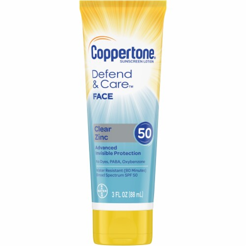 Coppertone Defend & Care Clear Zinc Face Sunscreen Lotion SPF 50 Perspective: front