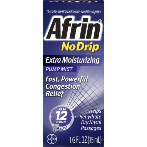 Afrin No Drip Extra Moisturizing Nasal Decongestant Pump Mist Perspective: front