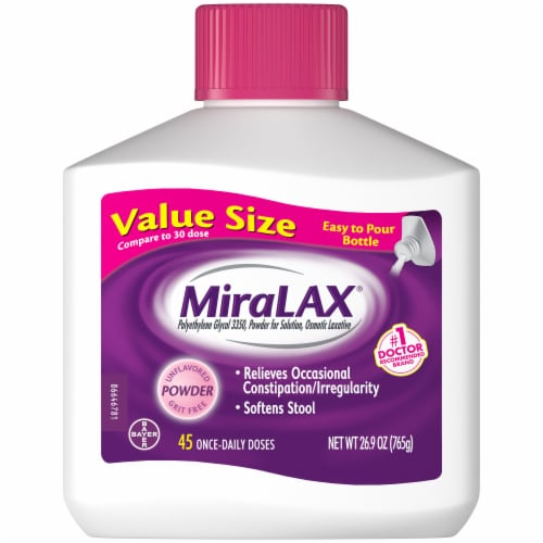 MiraLAX Laxative Powder for Gentle Constipation Relief Perspective: front