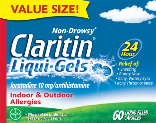 Claritin 24 Hour Non-Drowsy Indoor & Outdoor Allergy Relief Tablets Perspective: front