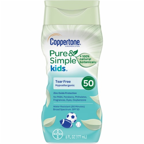 Coppertone Pure & Simple Kids Hypoallergenic Sunscreen Lotion SPF 50 Perspective: front