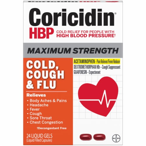 Coricidin HBP Maximum Strength Cold Cold & Flu Liquid Gels Perspective: front