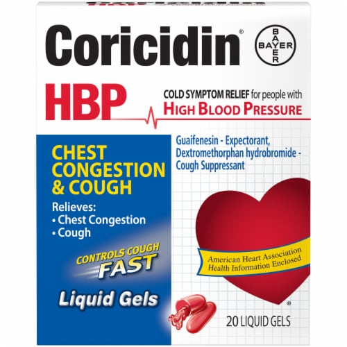 Coricidin High Blood Pressure Chest Congestion and Cough Medication Perspective: front
