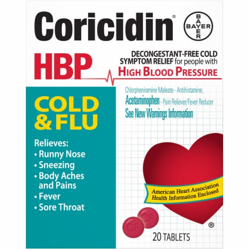 Coricidin High Blood Pressure Cold & Flu Relief Tablets Perspective: front